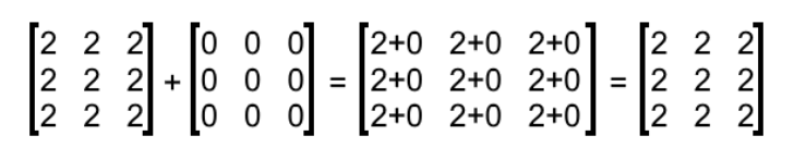 Equation 5: Solution of addition with a zero matrix