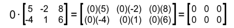 Equation 6: Multiplying zero times matrix A