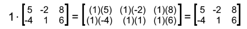 Equation 7: Multiplying one times matrix A
