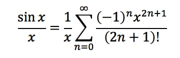 Equation 7: Taylor Series of sinx/x pt.2