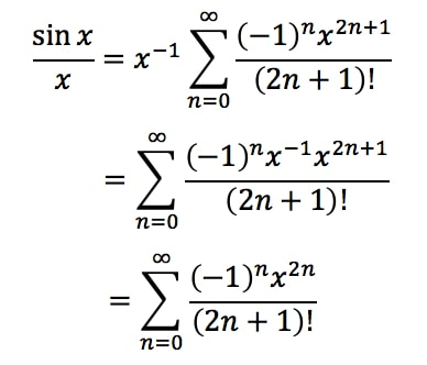 Equation 7: Taylor Series of sinx/x pt.3