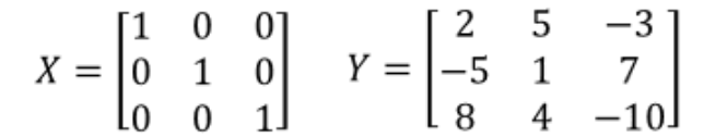 Equation 8: Matrices X and Y