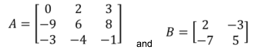 Equation 9: Matrices A and B