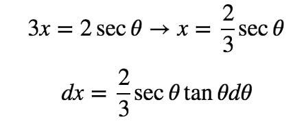 Equation 9: Trig Substitution with 2/3sec pt.3