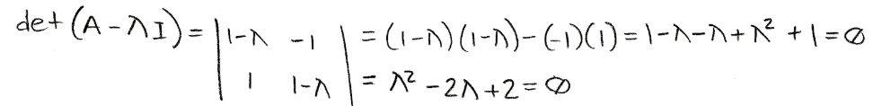Equation for example 1(a): Solving the characteristic polynomial equation.