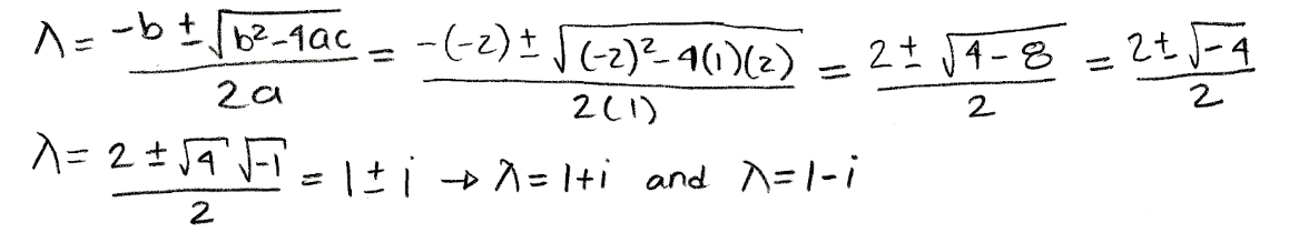 Equation for example 1(b): Calculating the eigenvalues