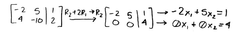 Equation for example 1(b): Row reducing to find a set of linear equations