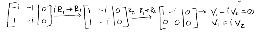 Equation for example 1(d): Solving for the first eigenvector (part 2)