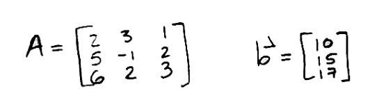 Equation for example 2: Matrix A and vector b