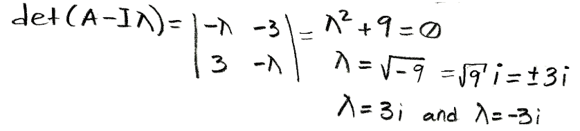 Equation for example 2(a): Solving the characteristic polynomial equation to find the eigenvalues