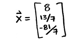 Equation for example 2(d): Vector x