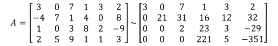 Equation for example 3: Matrix A