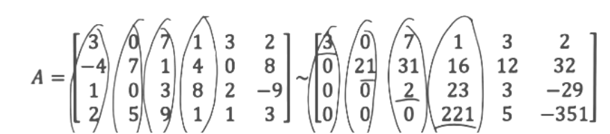 Equation for example 3(b): Circling the proper positions in the original matrix A