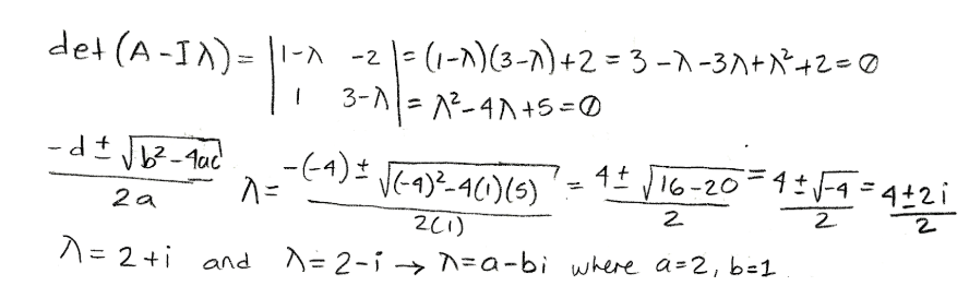 Equation for example 3(b): Obtaining the complex eigenvalues
