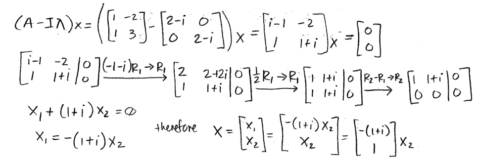 Equation for example 3(d): Computing the eigenvector (part 1)