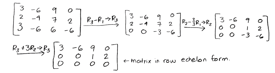 Equation for example 4(a): Row reduction to produce the row echelon form matrix