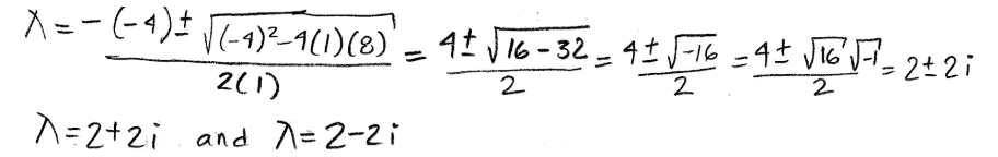 Equation for example 4(b): Finding the complex eigenvalues