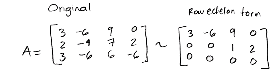 Equation for example 4(b): Matrix A and its row echelon form
