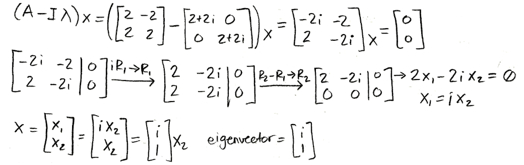 Equation for example 4(c): Calculating the corresponding first eigenvector