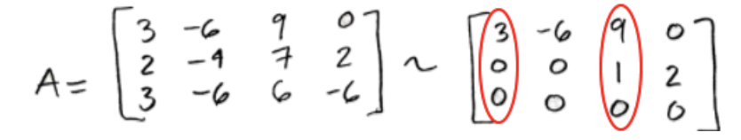 Equation for example 4(c): Circling the pivots in the echelon form matrix