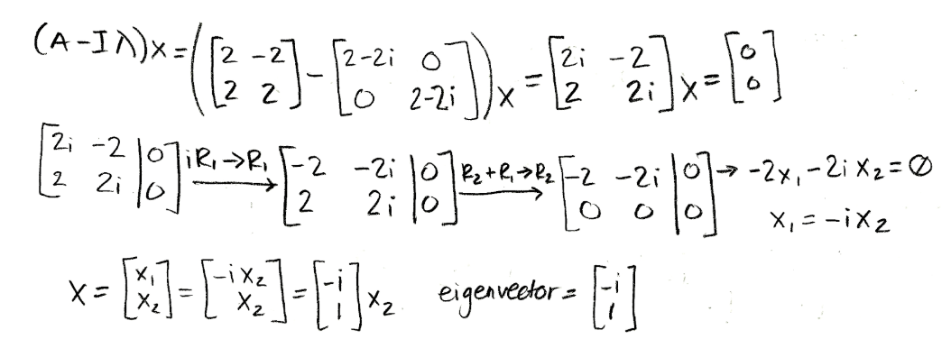 Equation for example 4(d): Calculating the corresponding second eigenvector