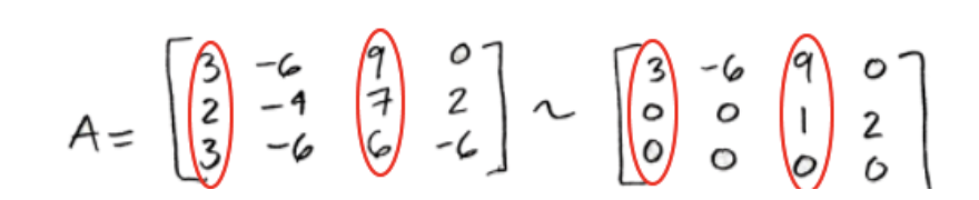 Equation for example 4(d): Circling the proper positions in the original matrix A