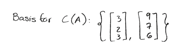 Equation for example 4(e): Basis for C(A)