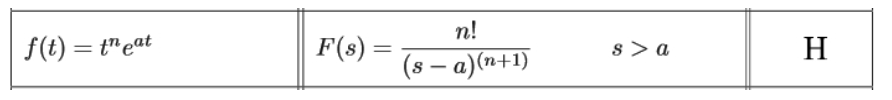 Equation for example 5(b): Identifying the general solution of the Laplace transform from the table
