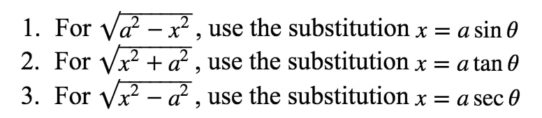 Formula 1: Trig Substitution Rules