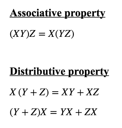 Formula 3: Matrix Multiplication Properties