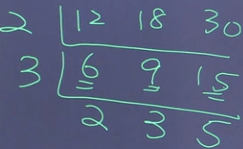 Look for the greatest common factor of a few numbers altogether using short division method