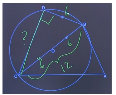 Angle CDB = 90° because of inscribed angle of the diameter