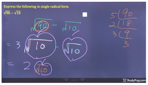subtracting radicals and express in single radical form