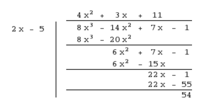 remainder is a smaller degree polynomial than the divisor 1