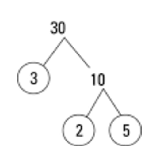 Use factor tree to factorize 30