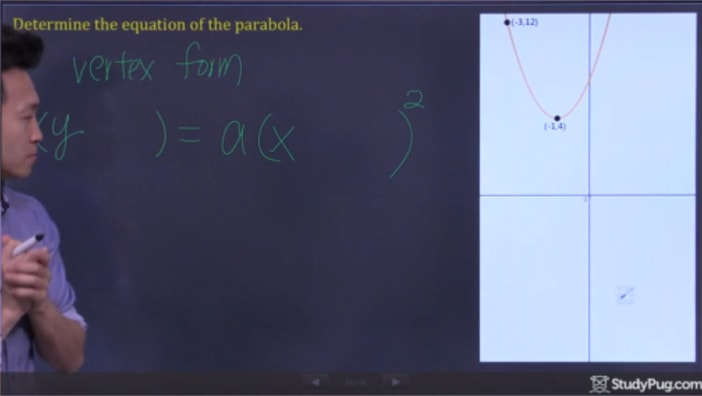 Using the vertex form to solve the equation of the parabola